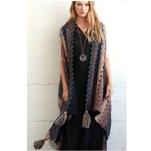 Jackets & Coats - Boho Knit Boucle Vest with Tassel Accent Acrylic